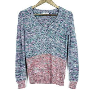 Madewell V Neck Chunky Knit Spectrum Sweater Top